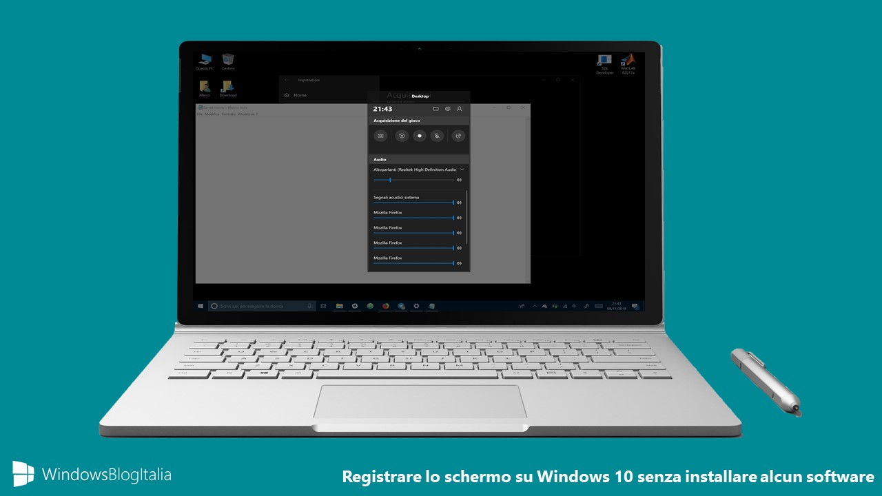 Registrare lo schermo di Windows 10