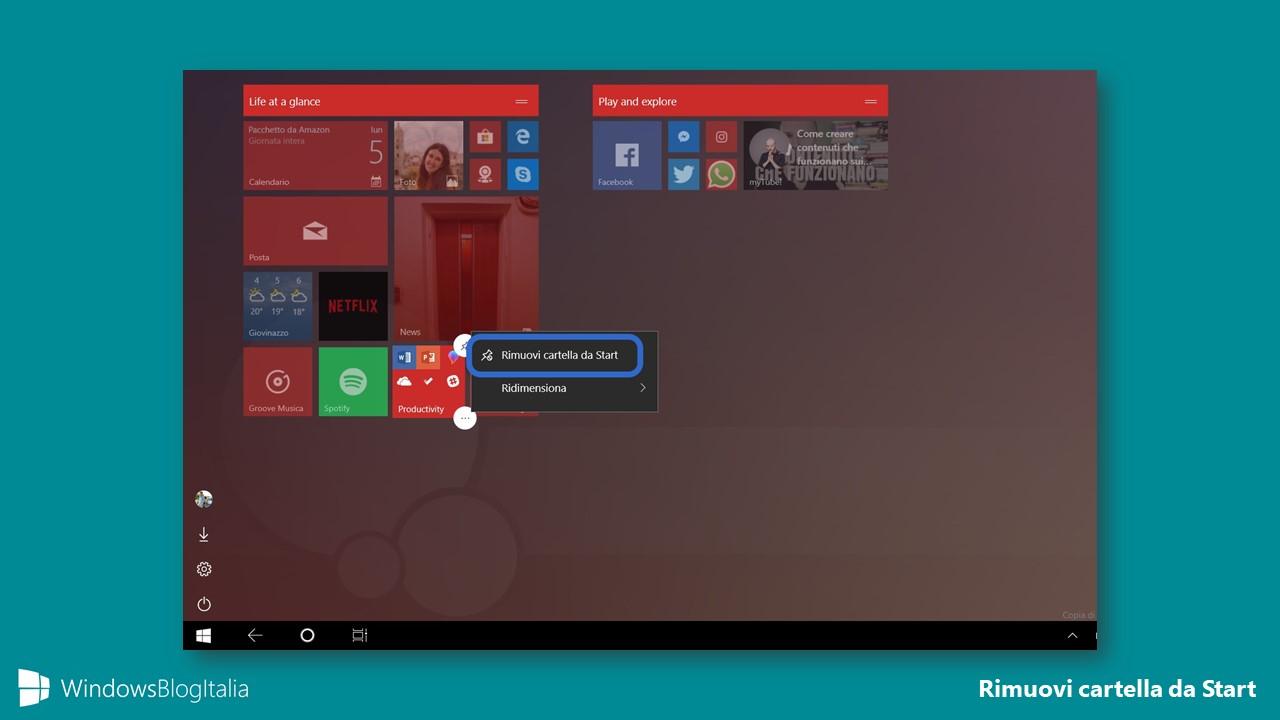 Rimuovi cartella app menu Start Windows 10