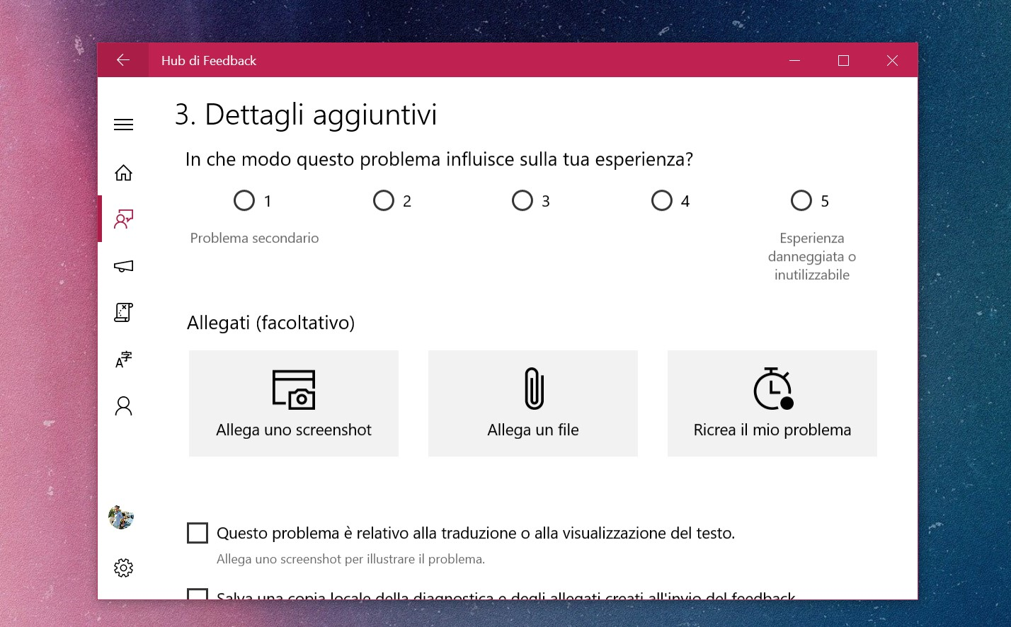 Windows 10 Hub di Feedback problema grave
