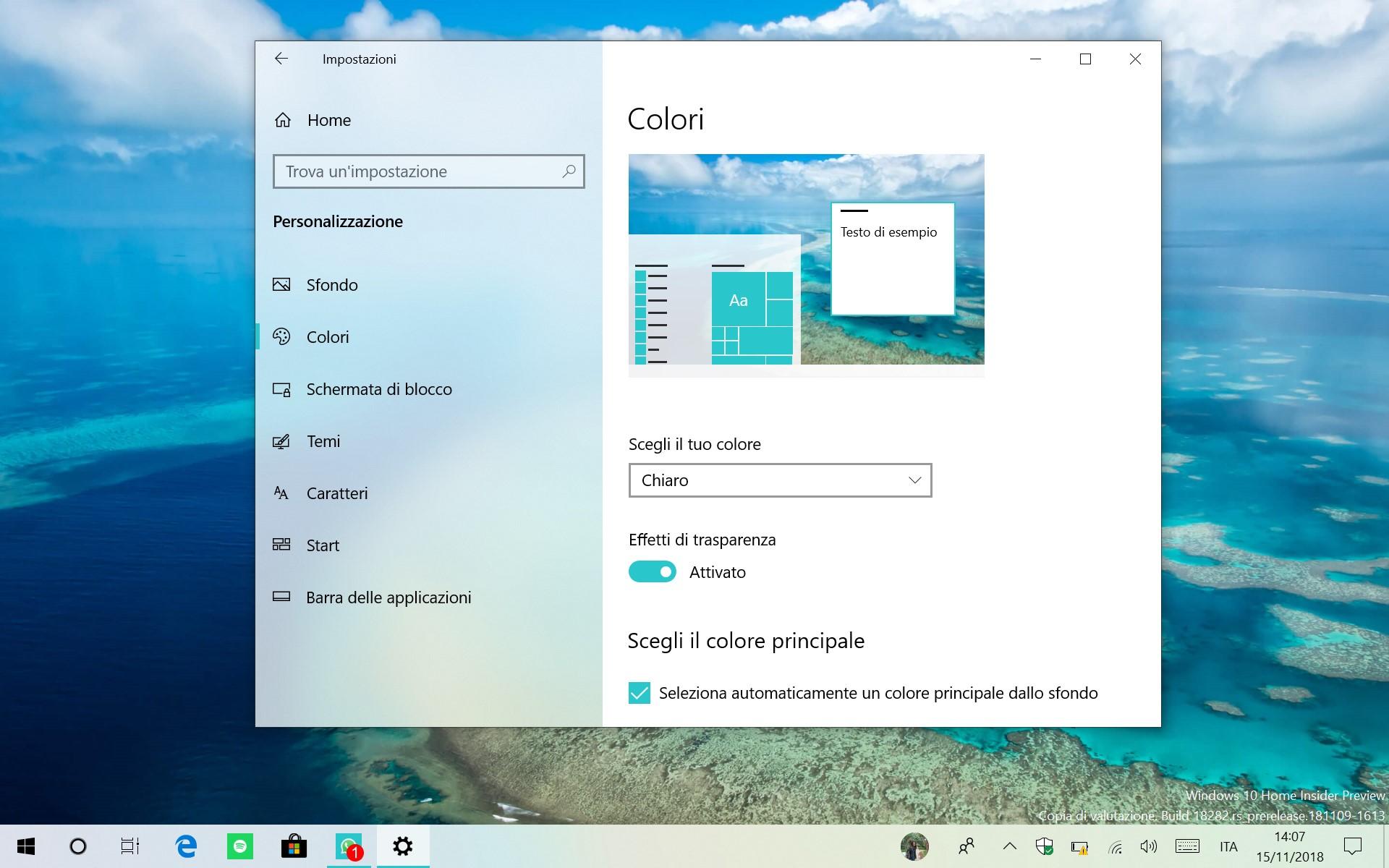 Windows 10 impostazioni tema chiaro