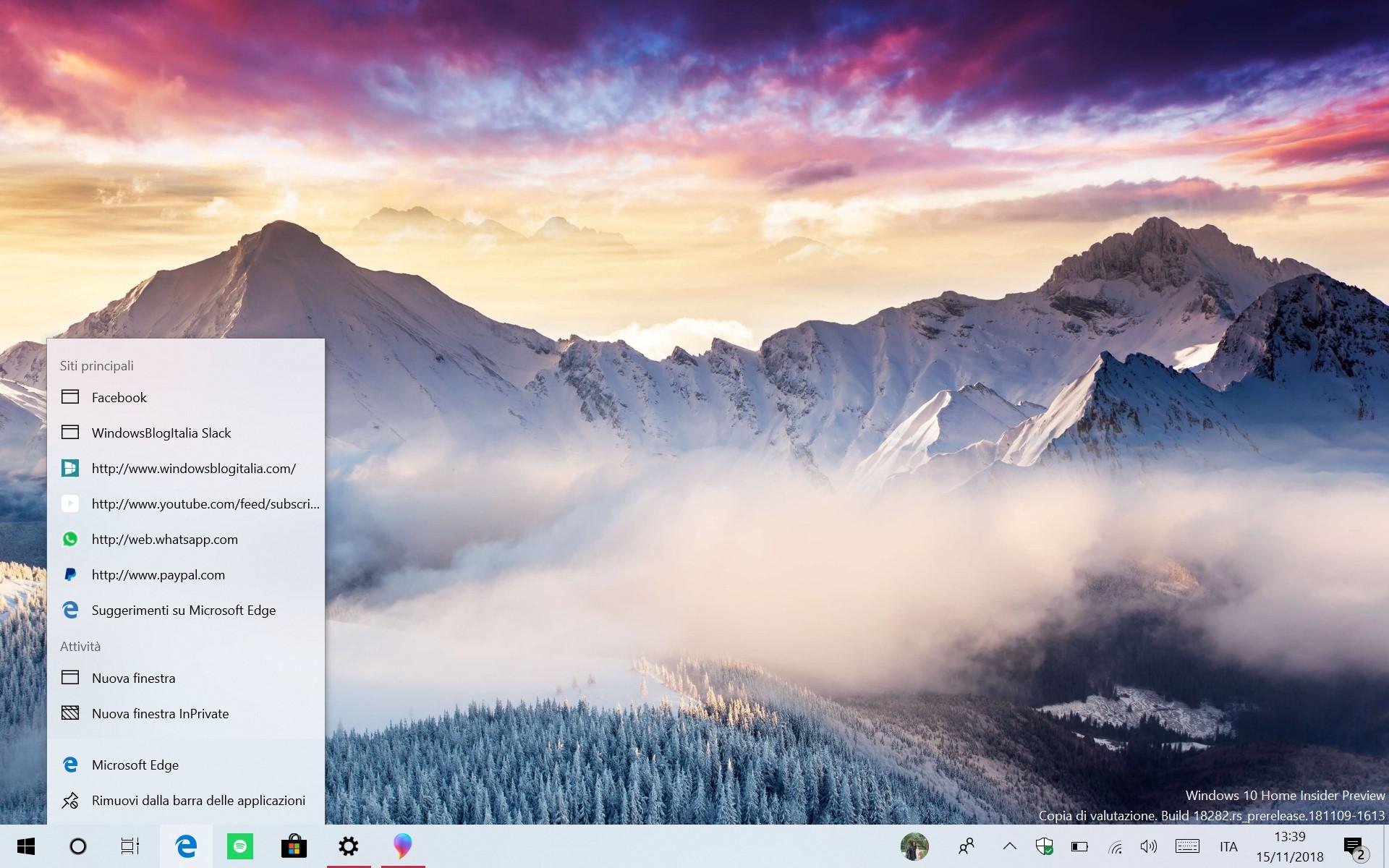 Windows 10 tema chiaro barra delle applicazioni icone jumplist