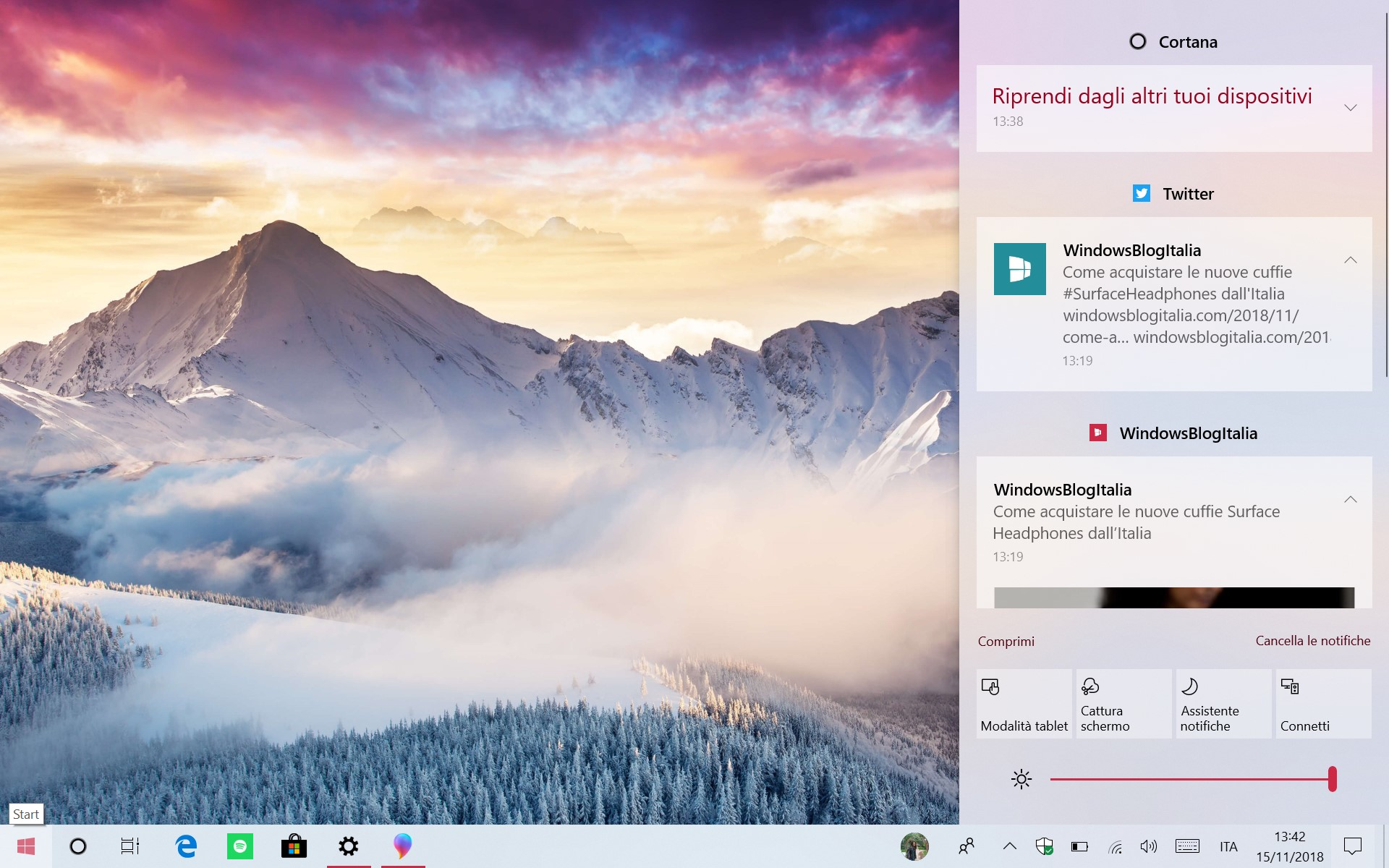 Windows 10 tema chiaro centro notifiche