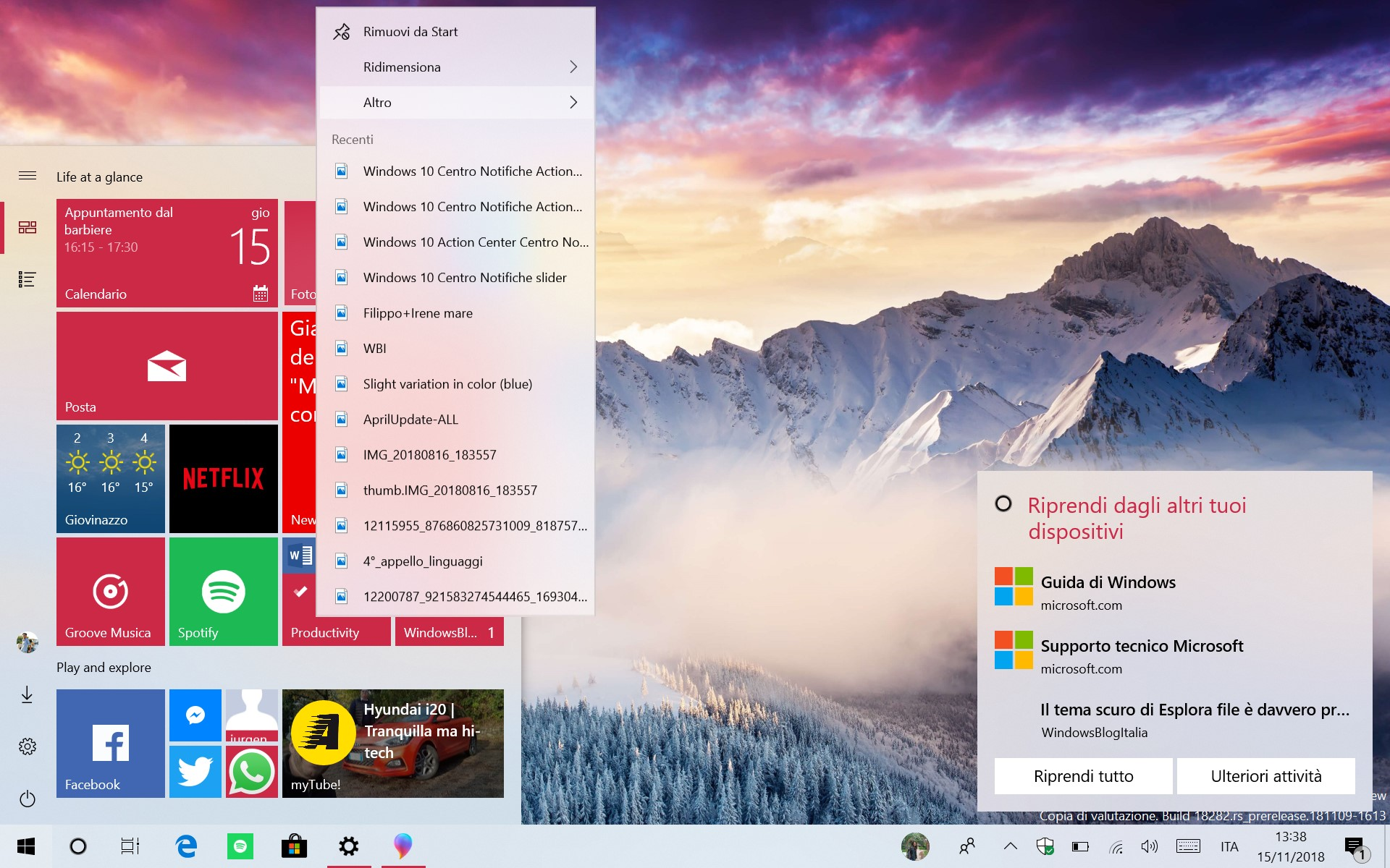 Windows 10 tema chiaro menu Start
