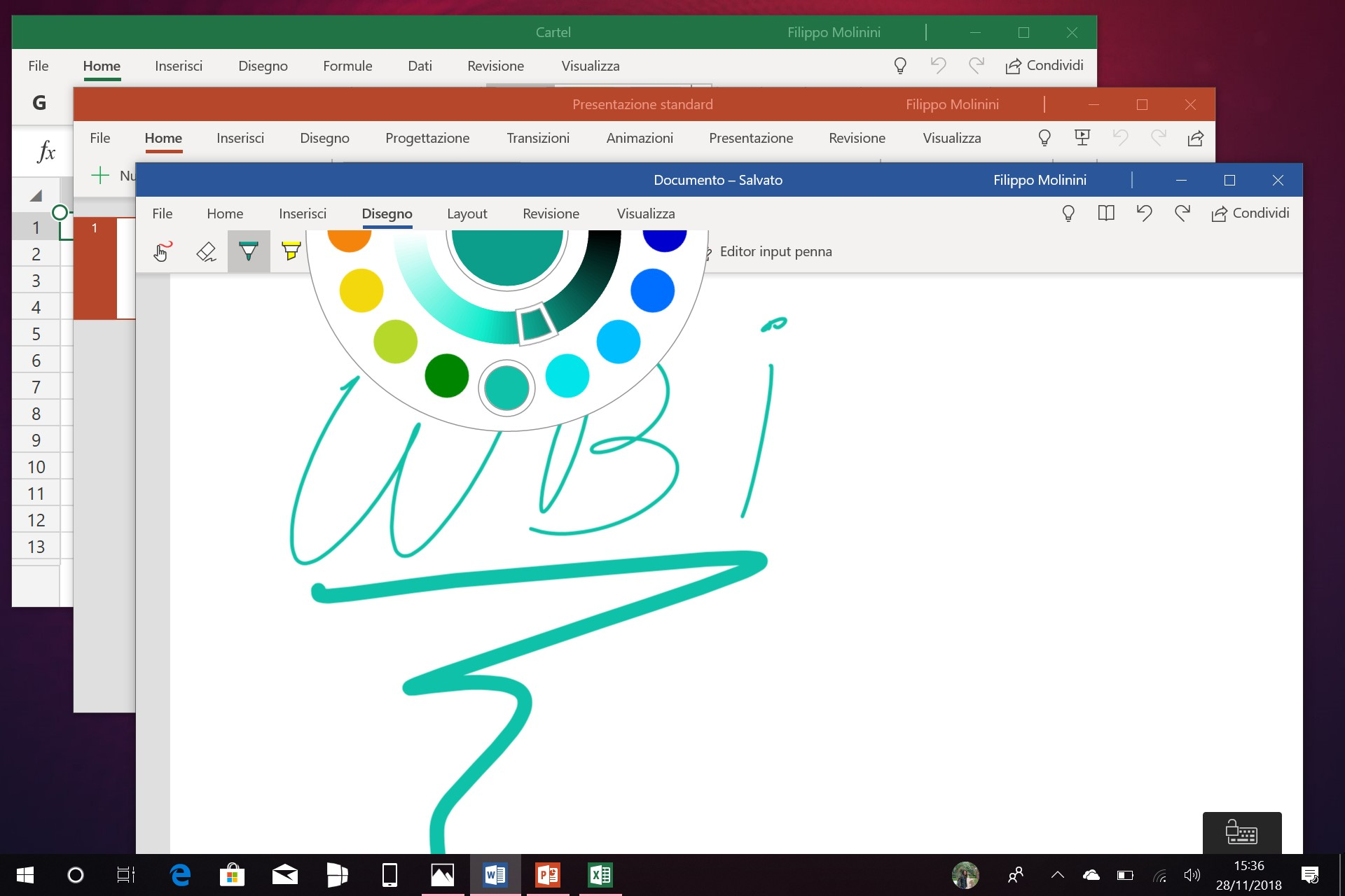 Word PowerPoint Excel Mobile nuovo selettore colore input penna app Windows 10
