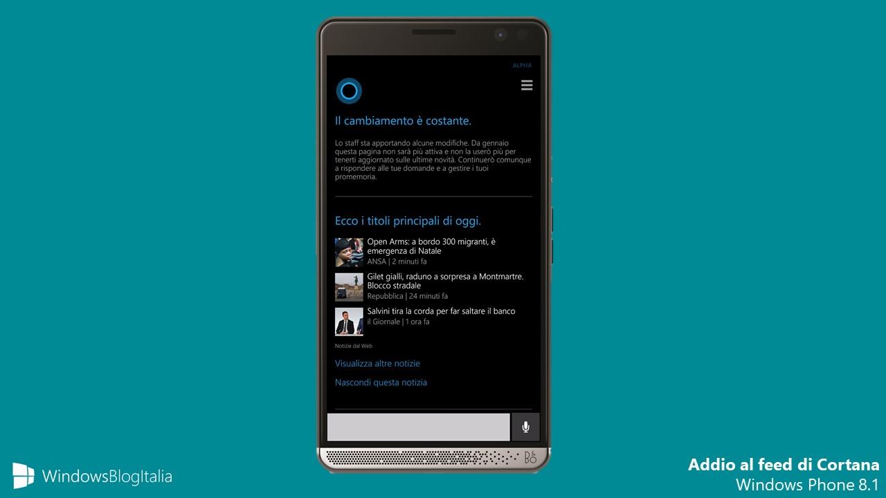 Addio newsfeed Cortana Windows Phone 8.1