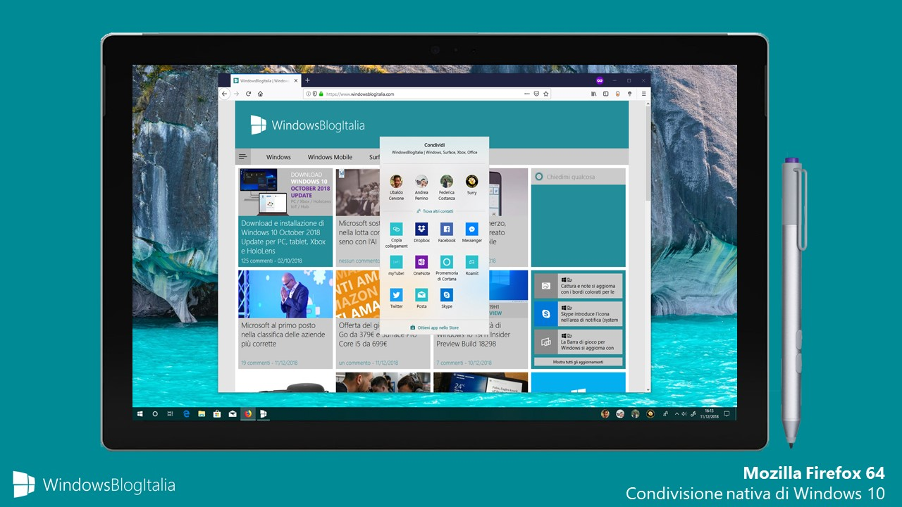 Condivisione nativa Windows 10 Mozilla Firefox 64