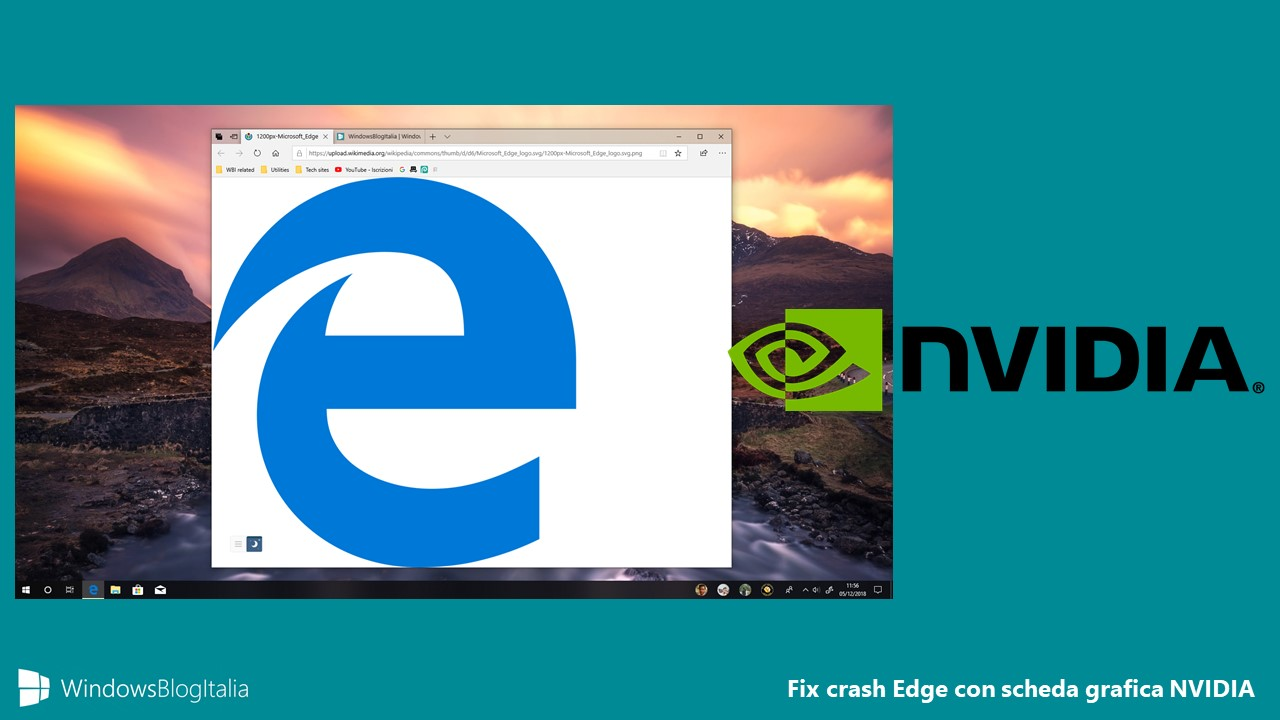Fix crash Microsoft Edge Windows 10 October 2018 Update scheda grafica NVIDIA