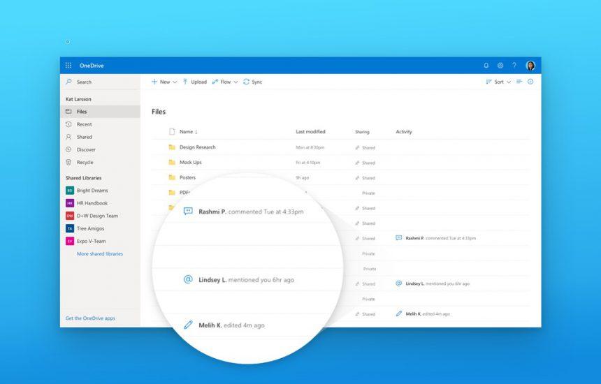 OneDrive redesign attivita modifiche commenti file