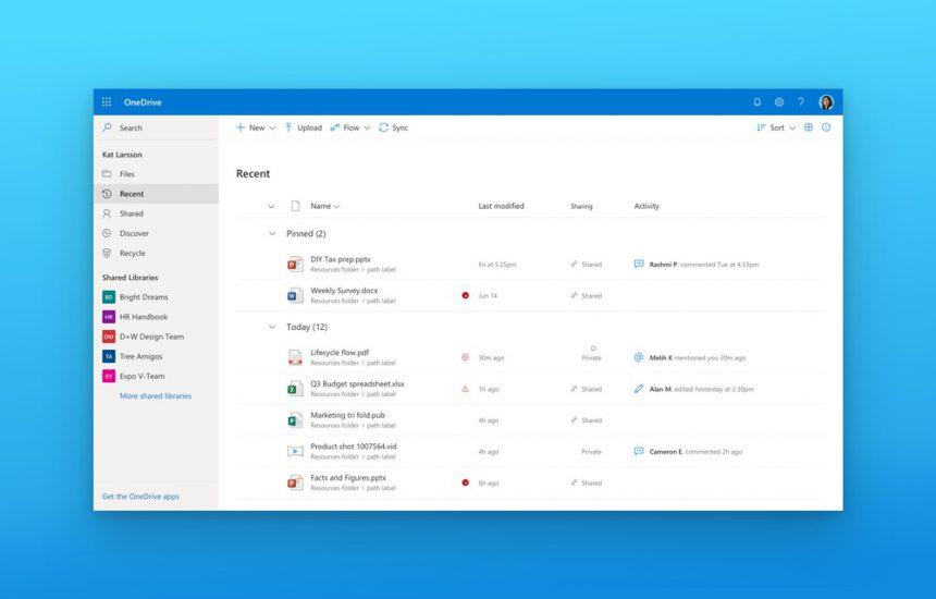 OneDrive vista file recenti