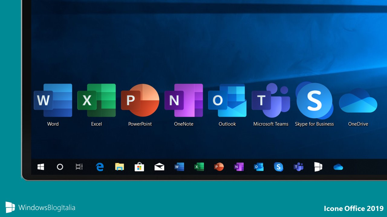 Nuove icone Office 2019 e Windows 10