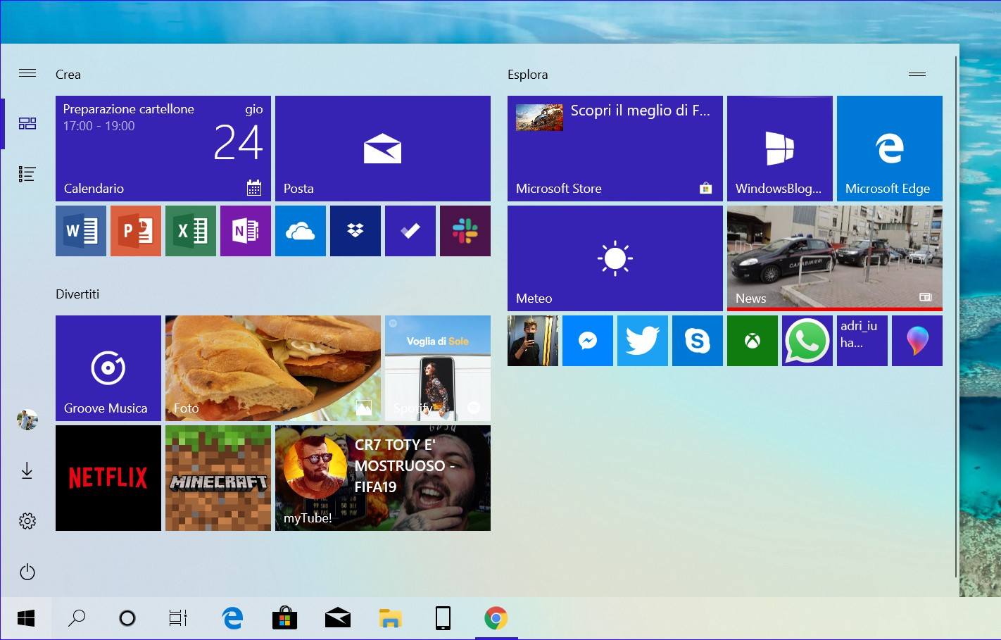 Menu Start Windows 10 19H1 tema chiaro live tile