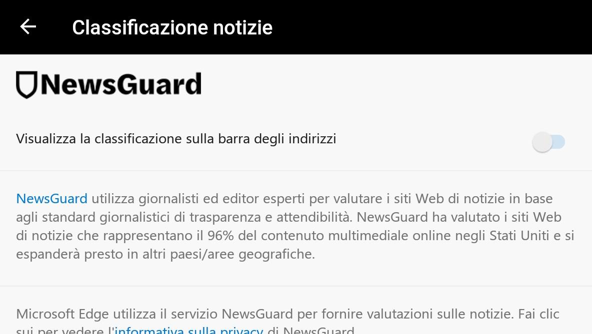 Microsoft Edge Android NewsGuard classificazione notizie
