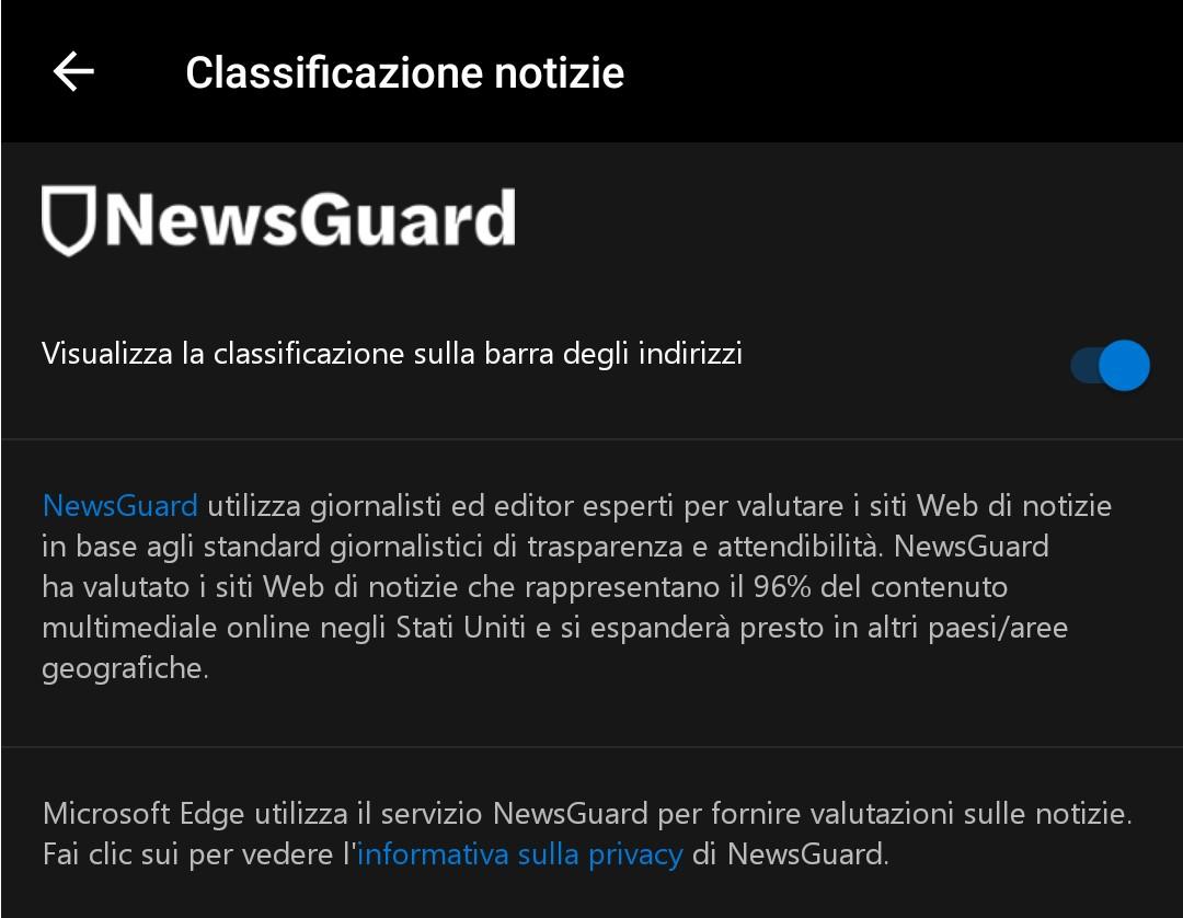 Microsoft Edge Android NewsGuard impostazioni classificazione notizie