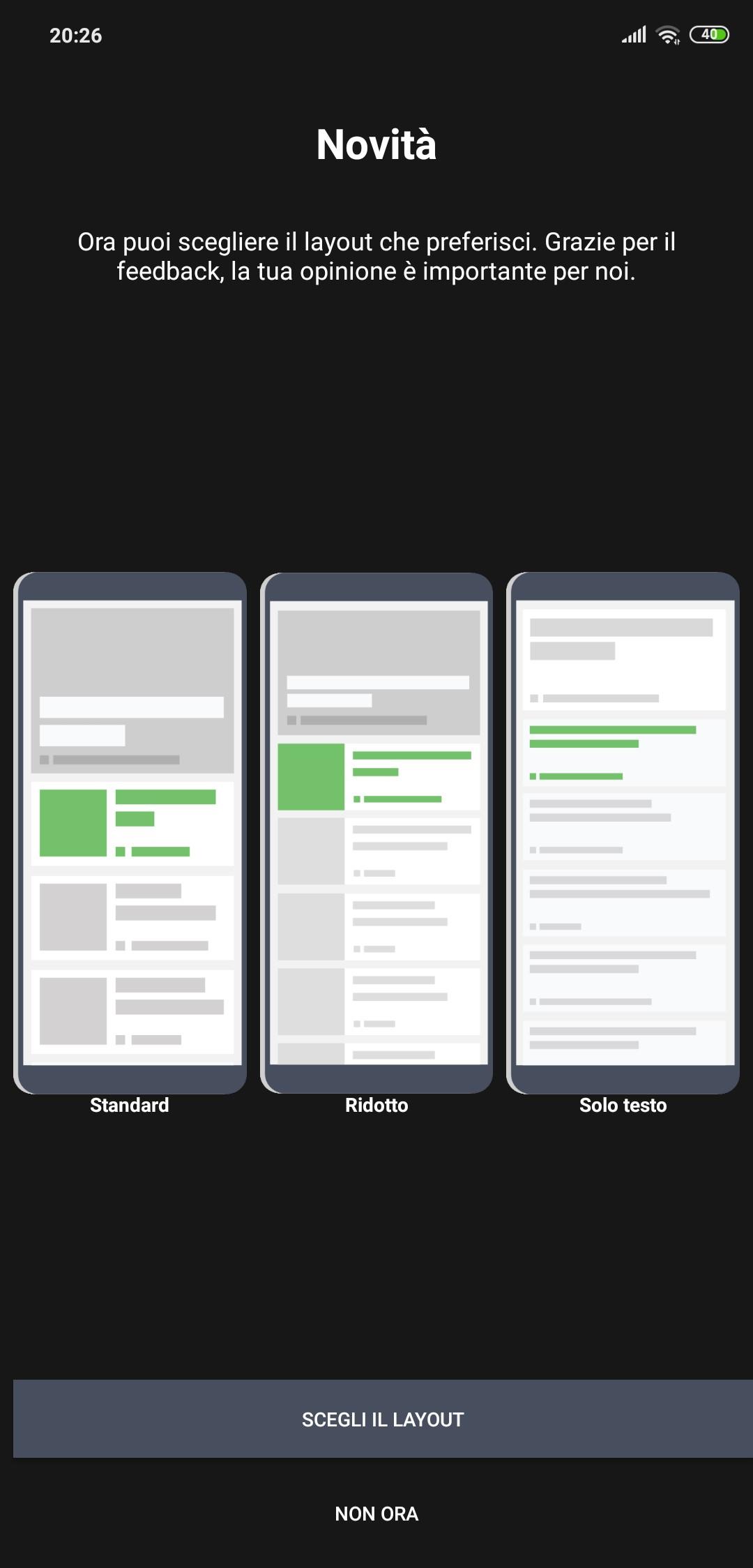 Microsoft News app Android modalita lettura personalizzabile
