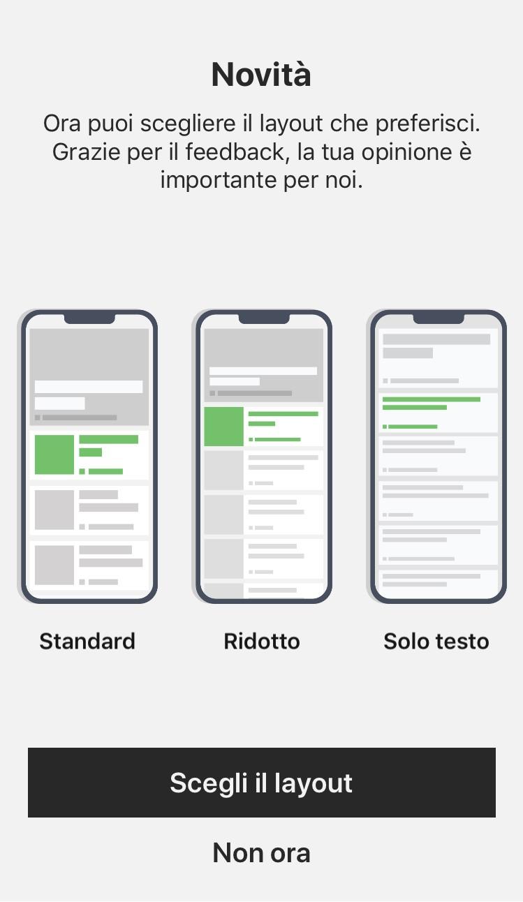 Microsoft News iOS layout personalizzabile