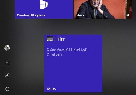 Microsoft To-Do pin live tile liste