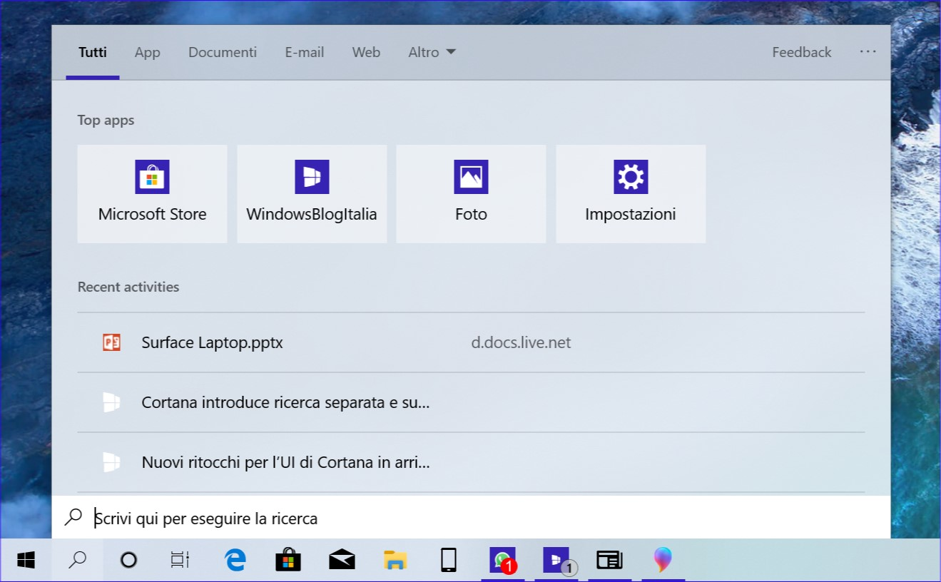 Nuova interfaccia ricerca Windows 10 19H1 top apps tema chiaro