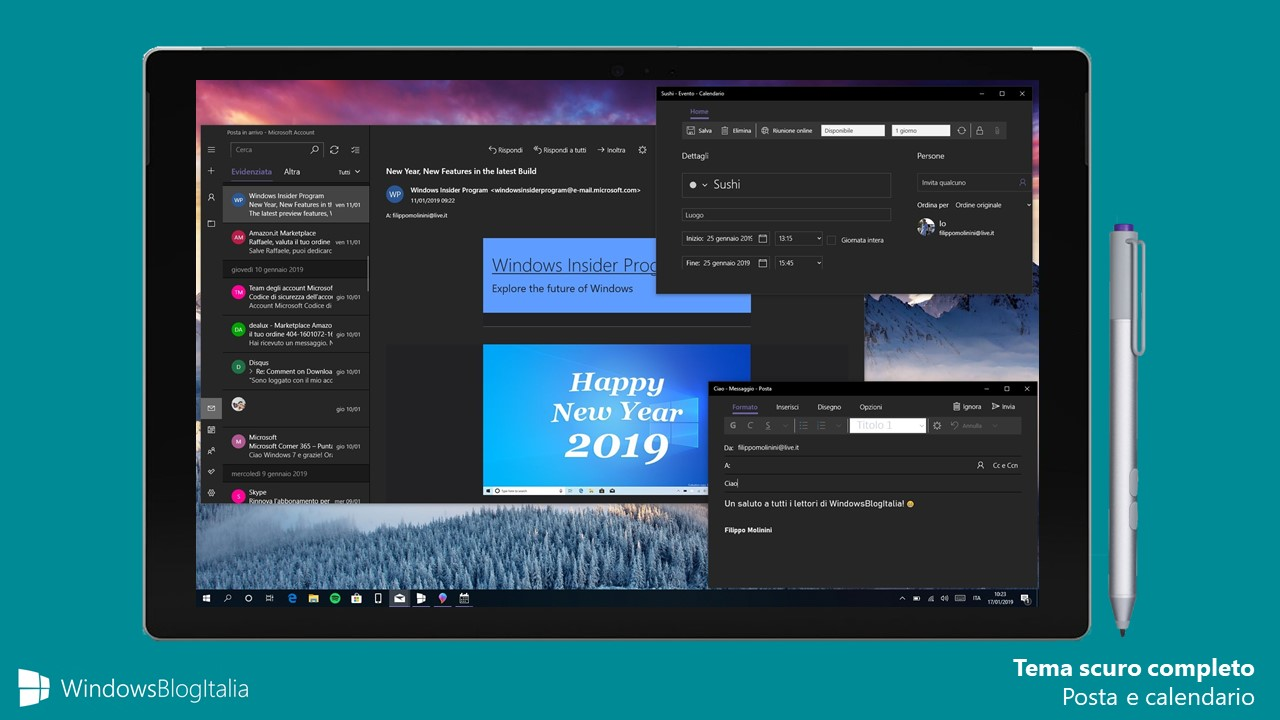 Tema scuro completo app Windows 10 Posta e Calendario