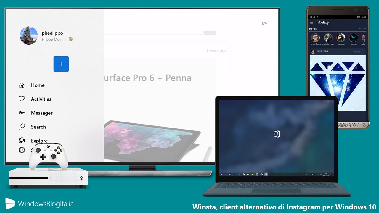 Winsta client alternativo Instagram Windows 10 Xbox One Windows 10 Mobile