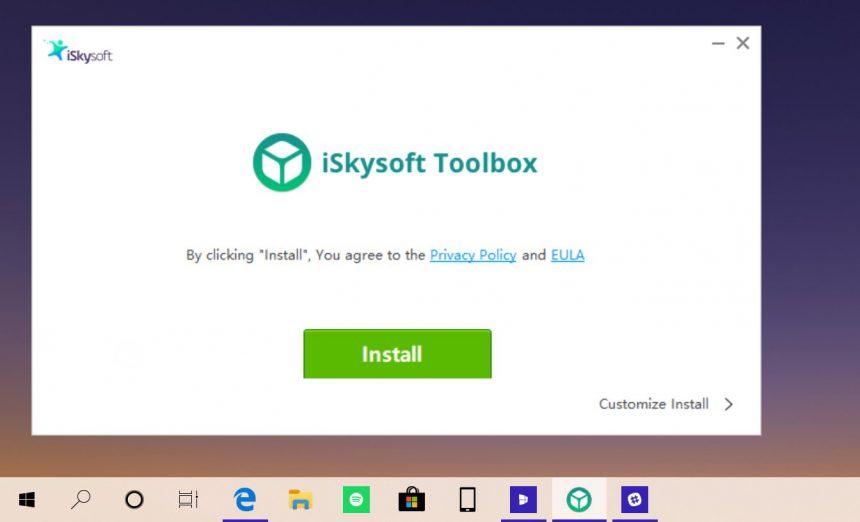 iSkysoft Toolbox - Switch installazione 1