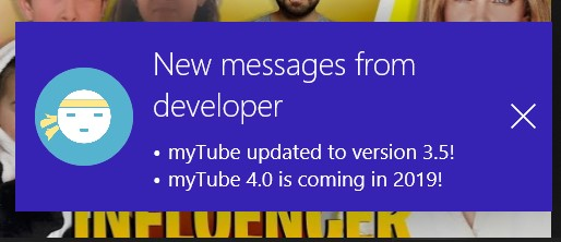 myTube! app Windows 10 Xbox One nuovo design messaggi developer
