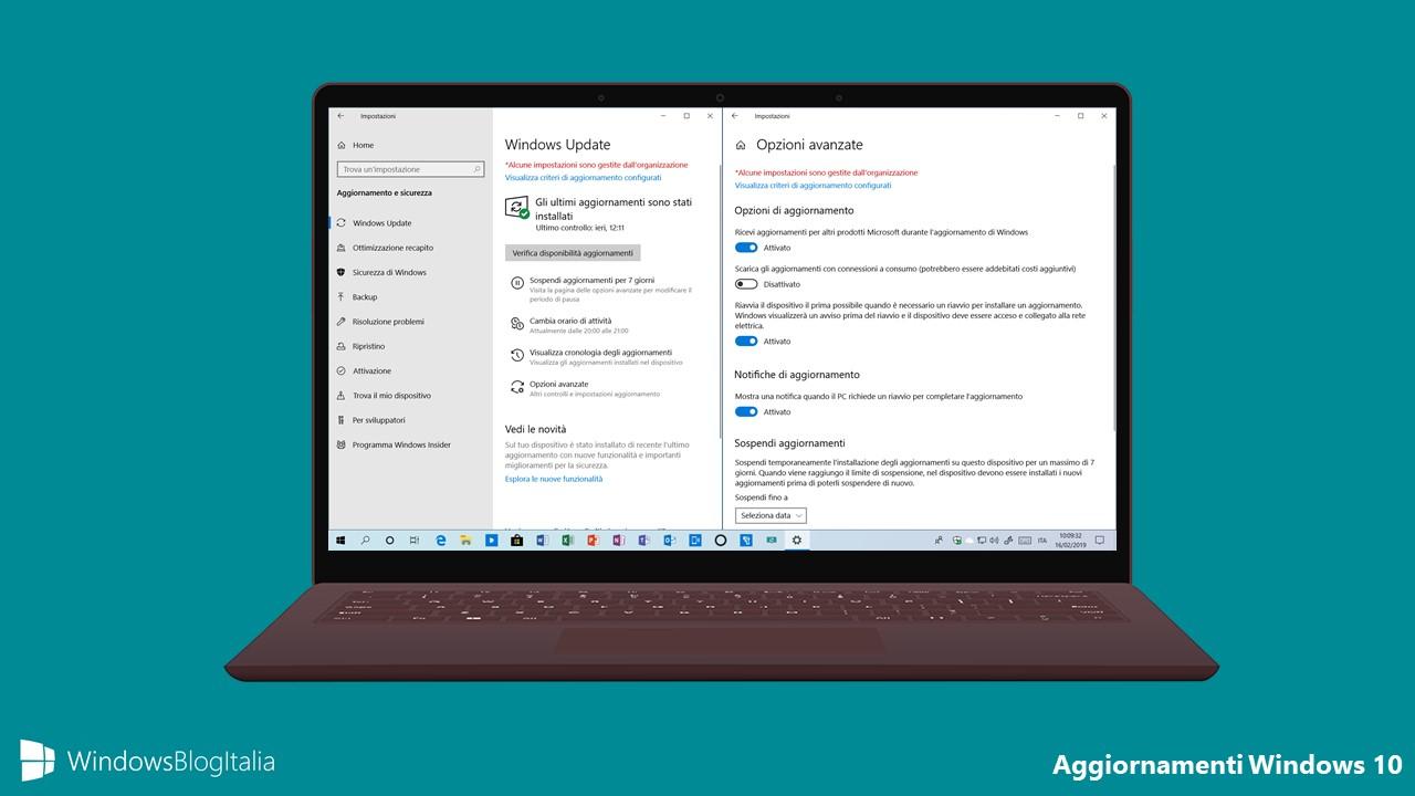 Aggiornamenti Windows 10 1903