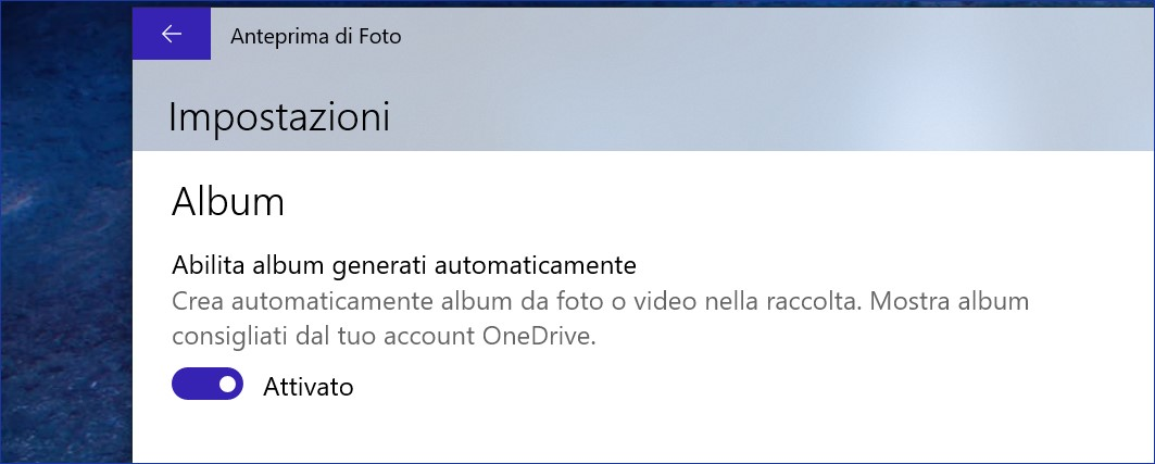 Microsoft Foto Windows 10 creazione automatica album