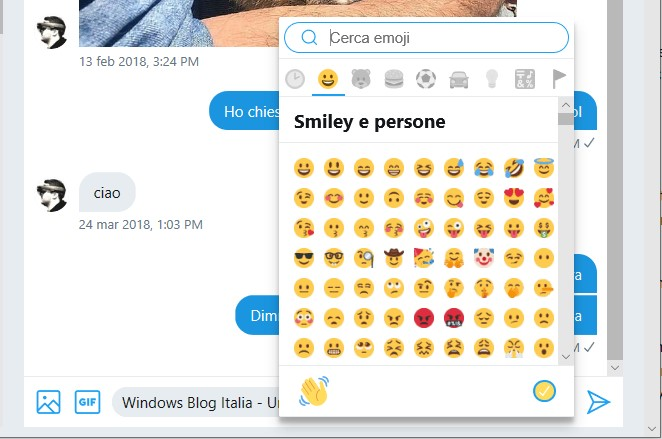 Selettore emoji Twitter PWA Windows 10