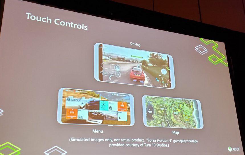 Controlli Xbox personalizzati a schermo Project xCloud