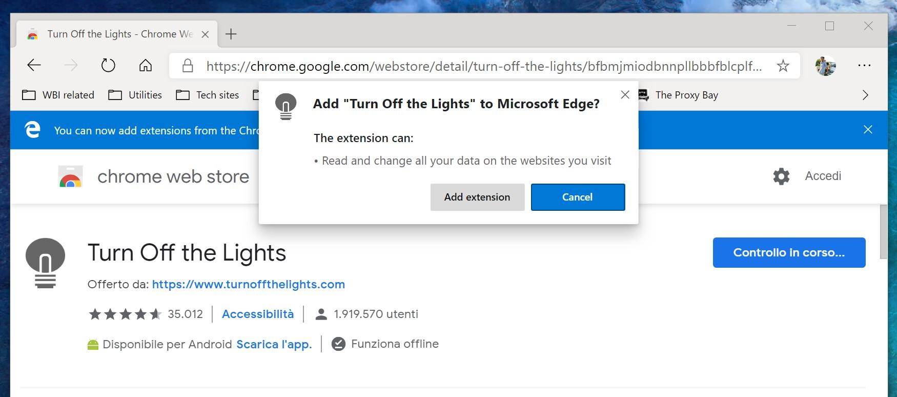 Microsoft Edge Chromium aggiungi estensione Chrome Web Store