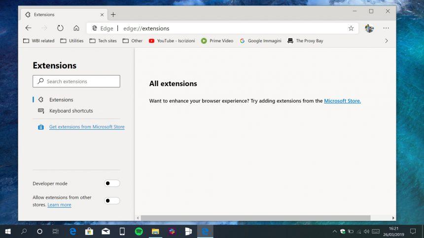 Microsoft Edge Chromium pagina estensioni