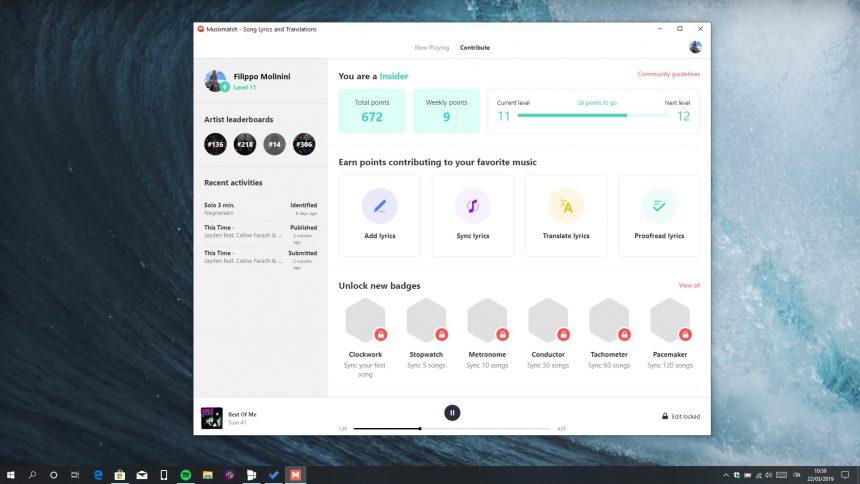 Musixmatch 3.0 Windows 10 nuova UI contributi
