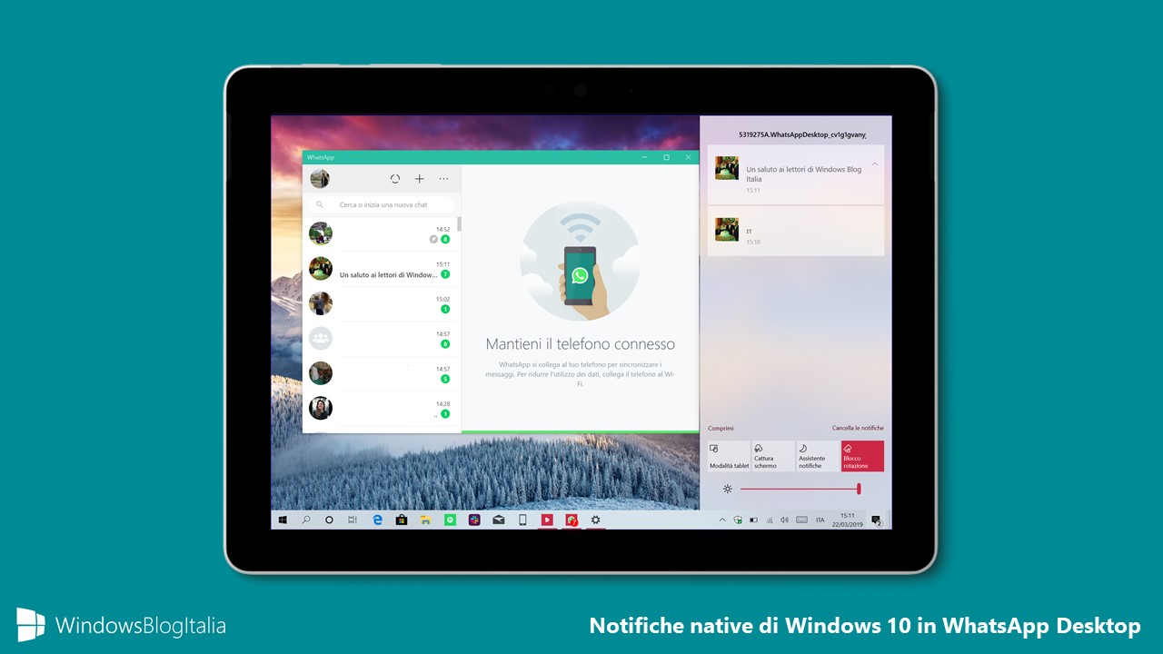 Notifiche native Windows 10 WhatsApp Desktop Microsoft Store