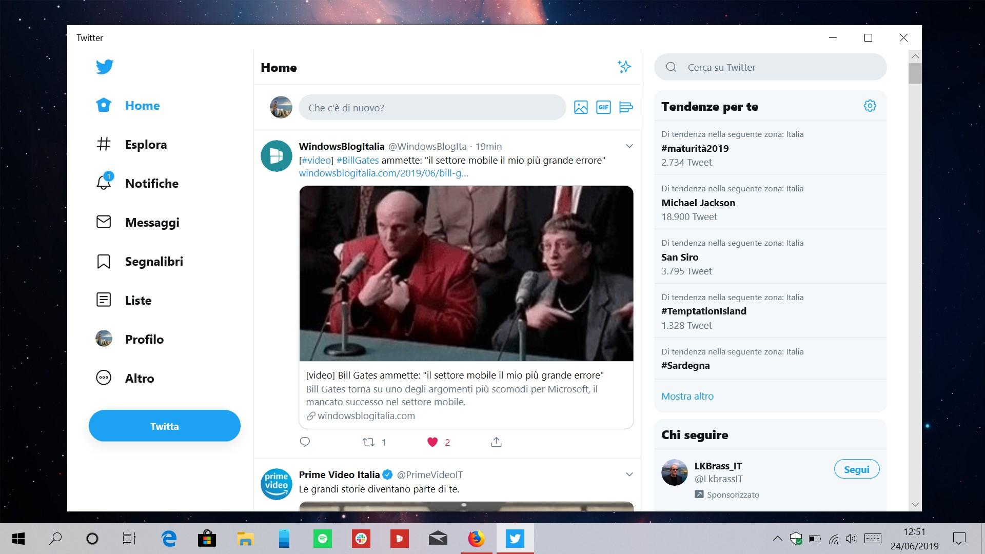 Nuova interfaccia utente PWA Twitter per Windows 10
