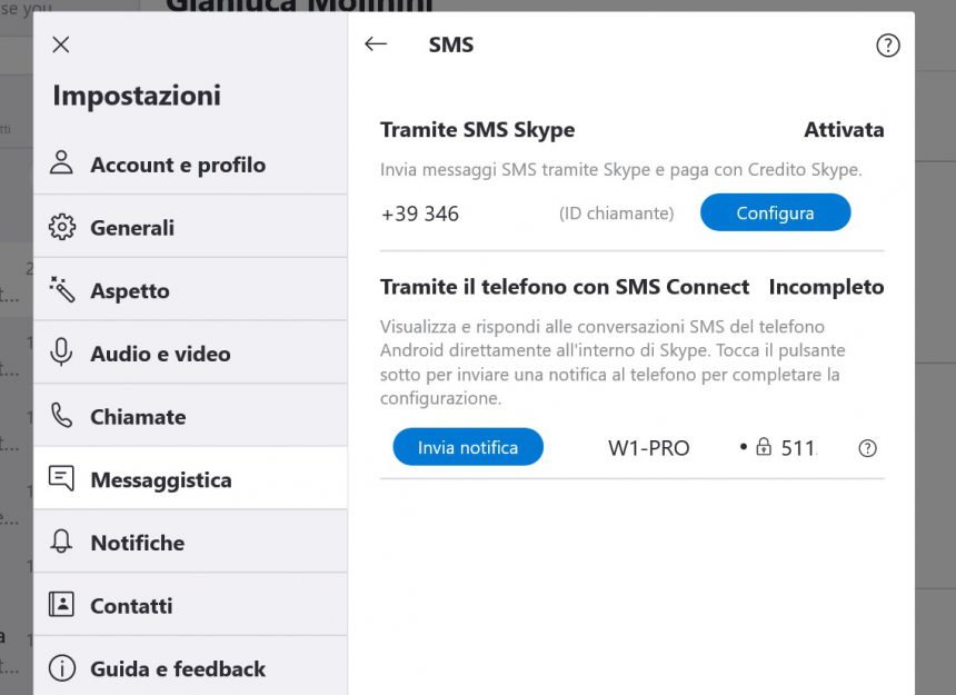 Skype Windows 10 SMS Connect