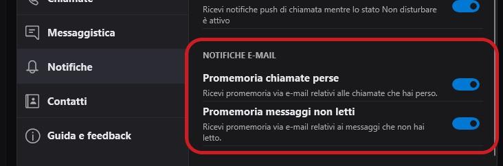 Skype Windows 10 notifiche e-mail promemoria