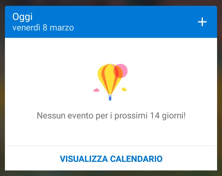 Widget calendario Microsoft Outlook per Android
