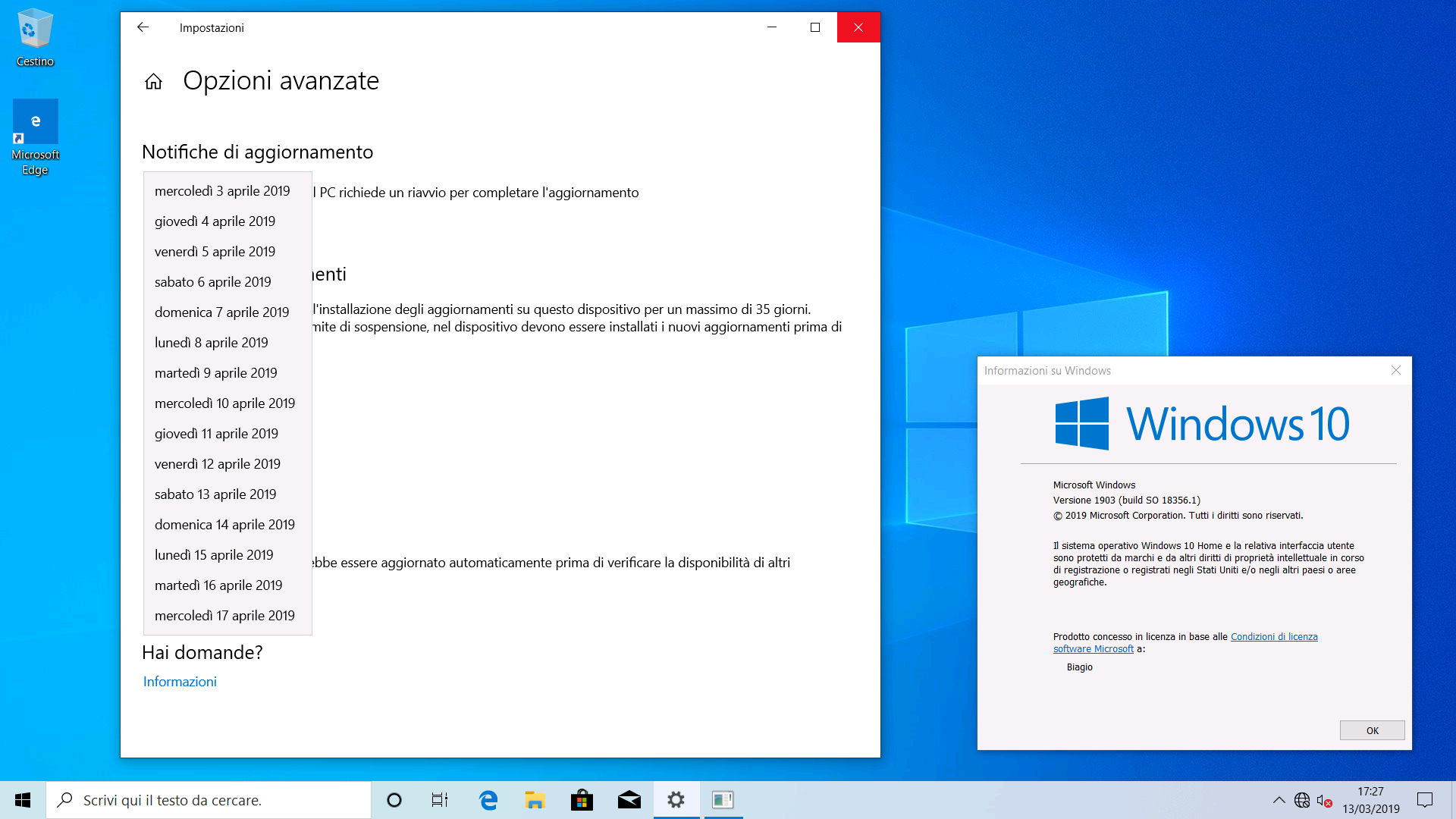 Windows 10 Home 19H1 pausa aggiornamenti 35 giorni WBI