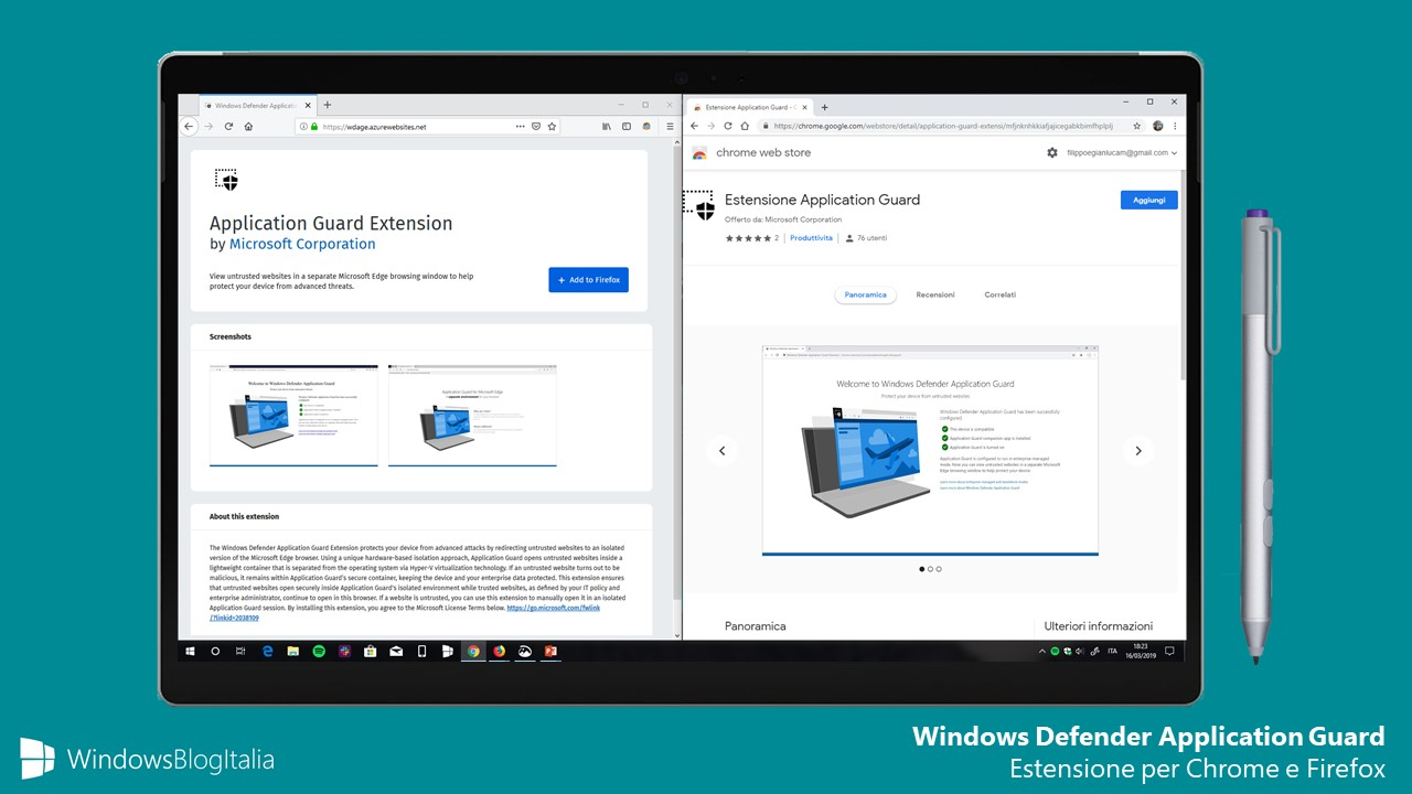 Windows Defender Application Guard estensione Google Chrome e Mozilla Firefox