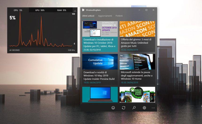 Barra di gioco Windows 10 widget prestazioni
