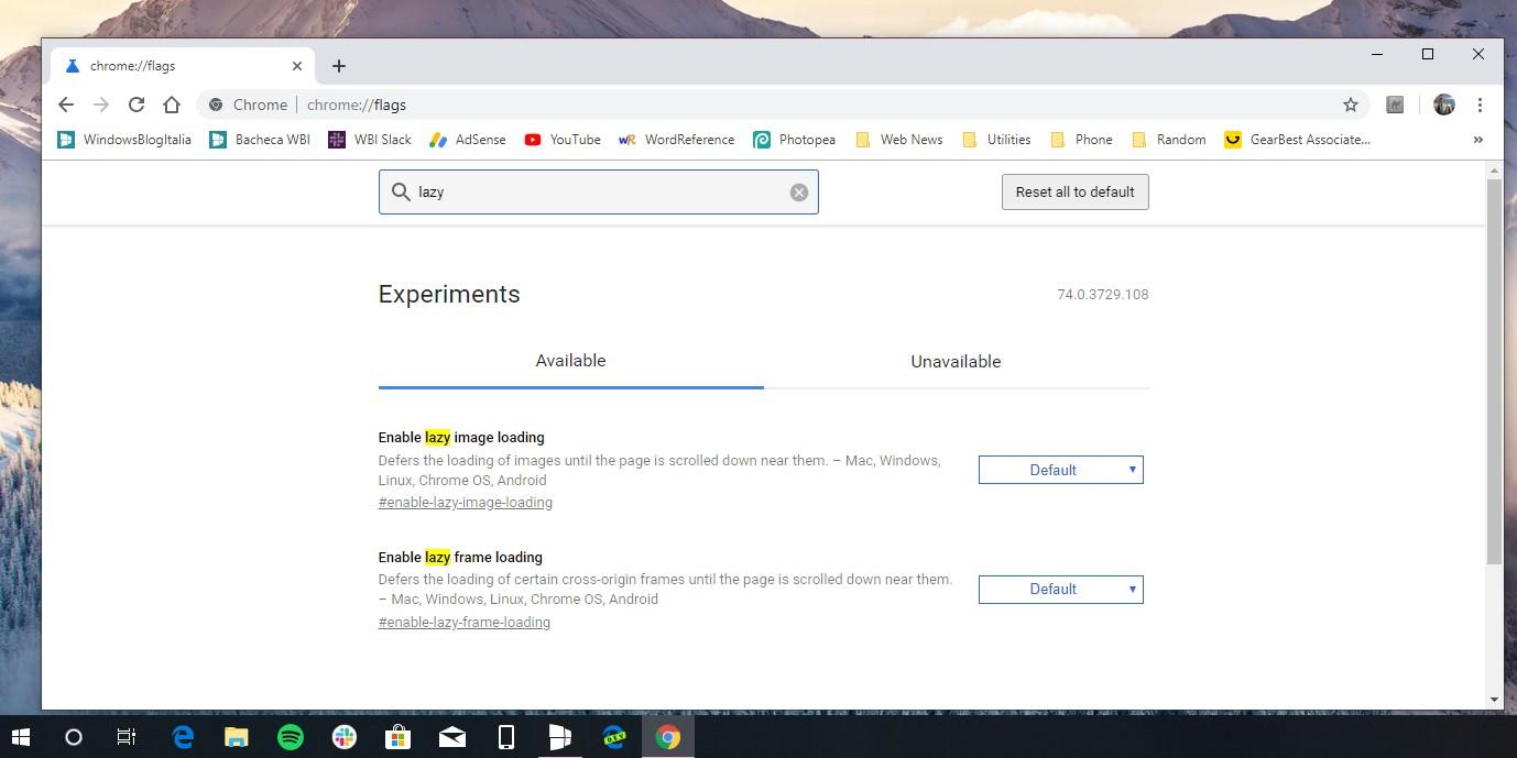 Google Chrome 74 Windows lazy loading