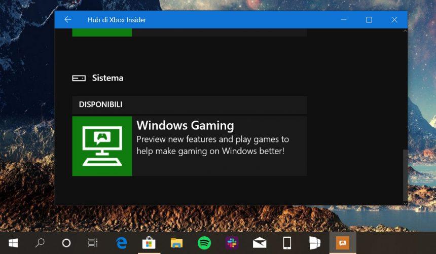 Hub di Xbox Insider Windows Gaming