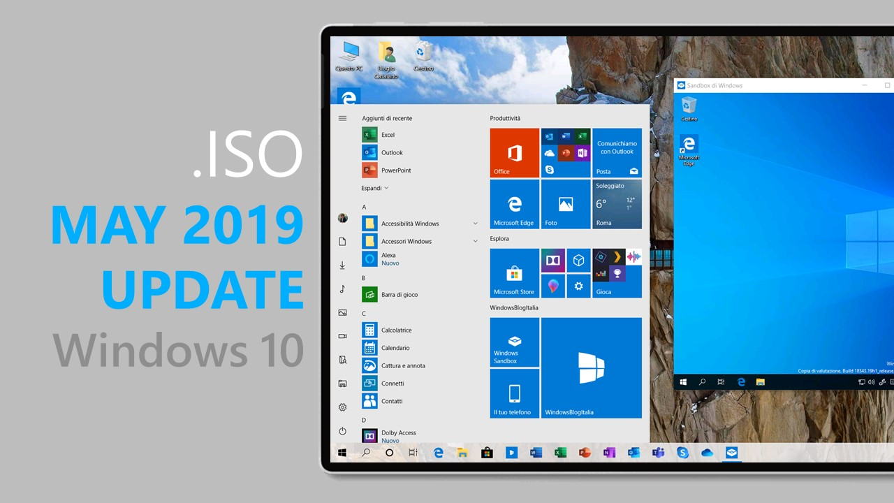 Download  ISO di Windows 10 May 2019 Update tramite My