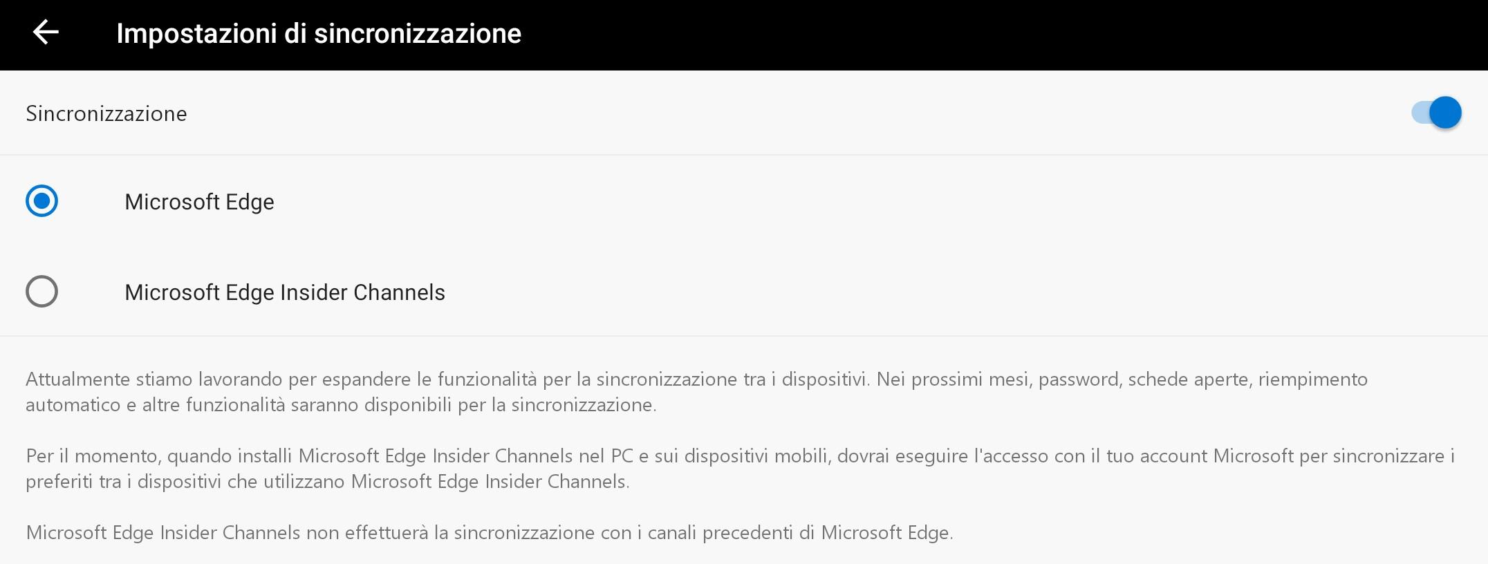 Microsoft Edge Beta per Android sincronizzazione
