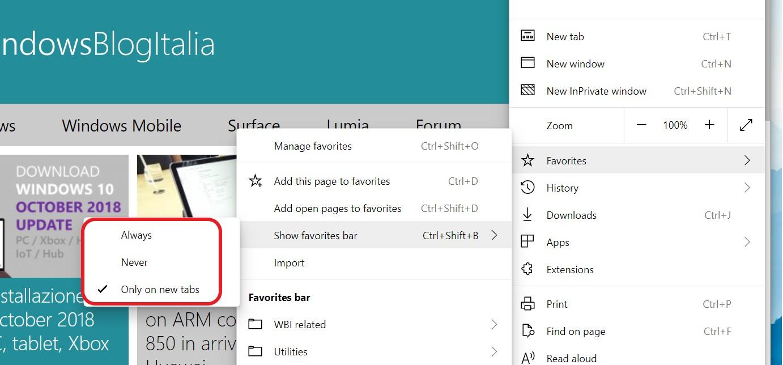 Microsoft Edge Chromium barra dei preferiti a scomparsa