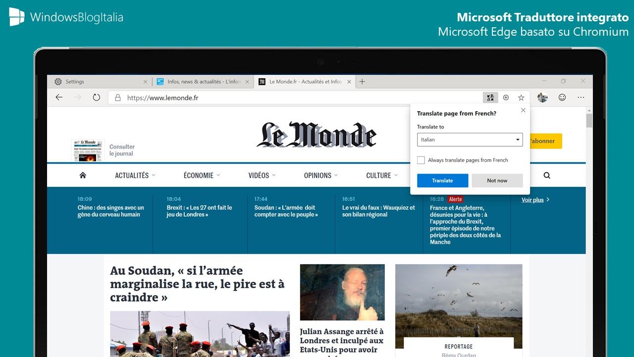 Microsoft Edge Chromium traduzione Microsoft Traduttore