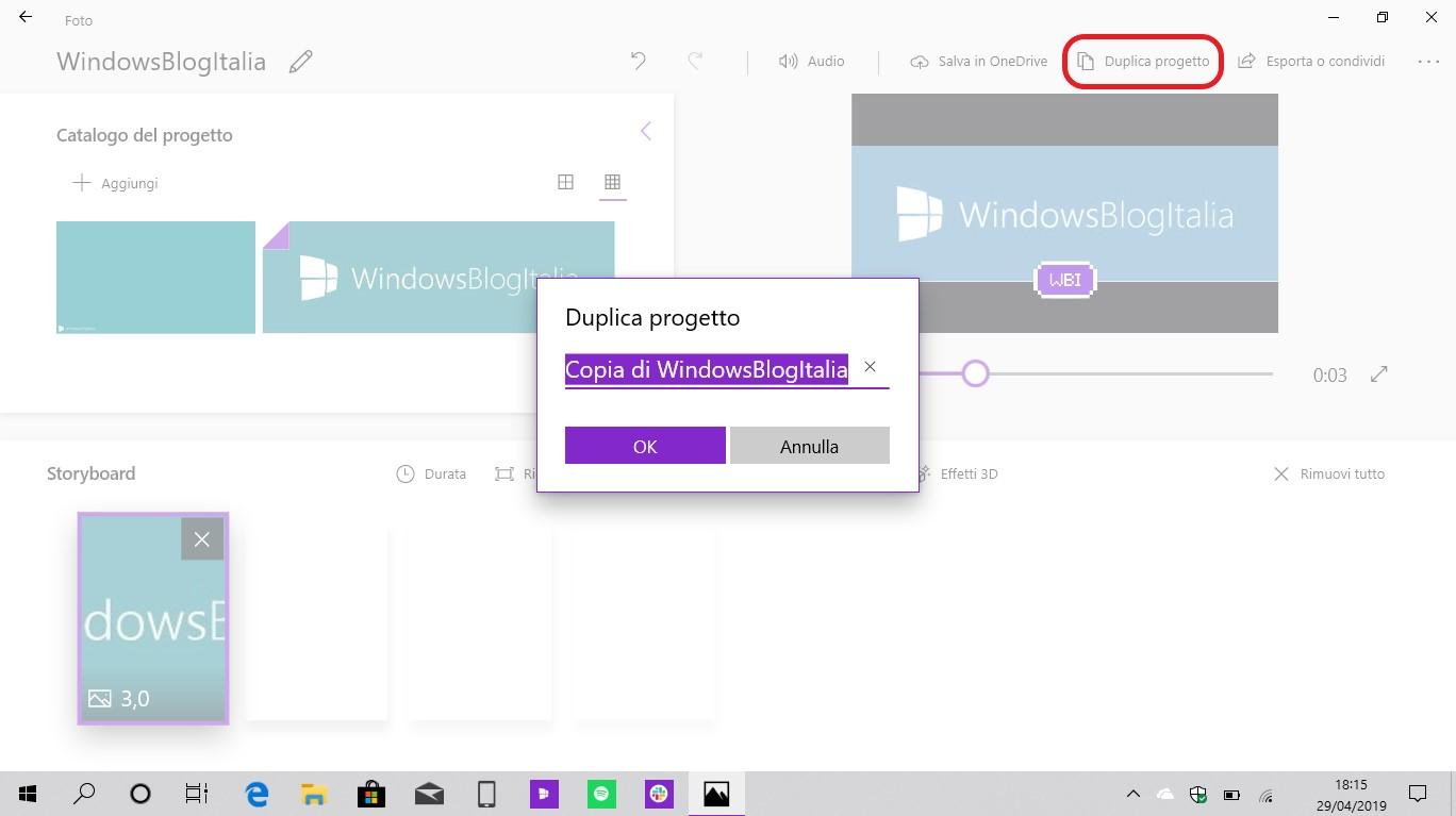 Microsoft Foto duplica progetto video
