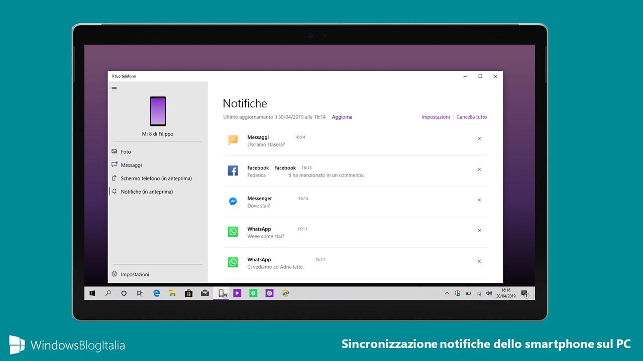 Sincronizzazione notifiche Android Windows 10 hero