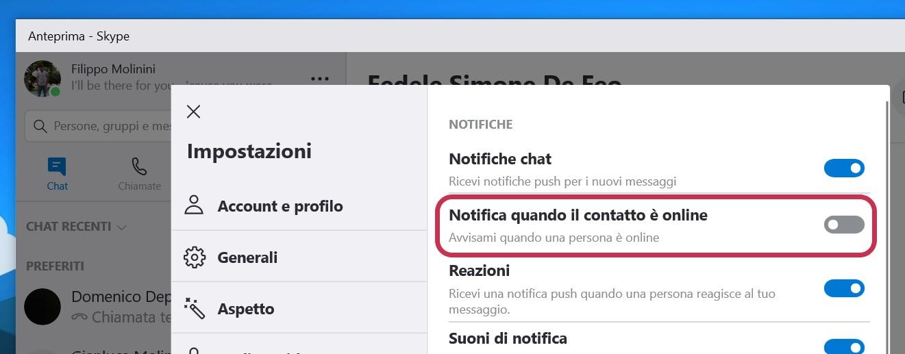 Skype Preview Windows 10 impostazione notifica contatti online
