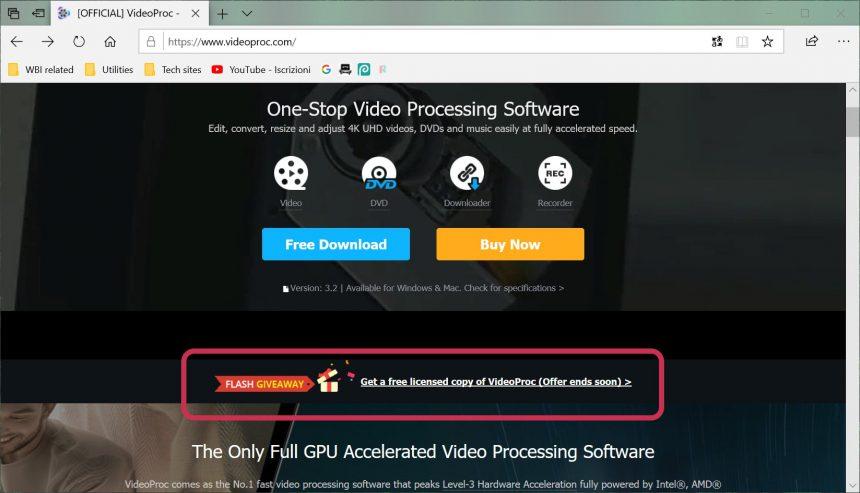 VideoProc link download gratis per PC